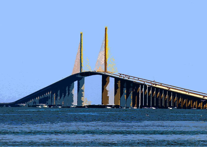 Sunshine Skyway Bridge Greeting Card featuring the painting Sunshine Skyway Summer by David Lee Thompson