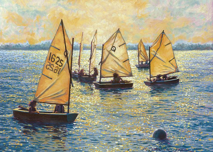 Sun Greeting Card featuring the painting Sunwashed Sailors by Marguerite Chadwick-Juner