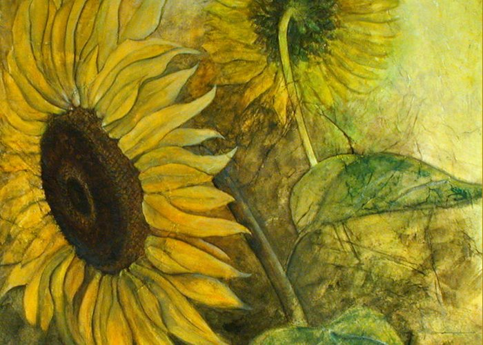 Sunflower Greeting Card featuring the painting Sunworshipper II by Sandy Clift