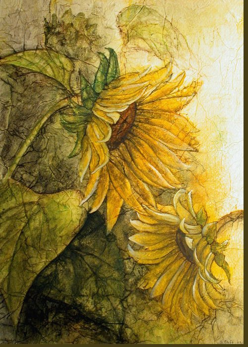 Flowers Greeting Card featuring the painting Sunworshippers I by Sandy Clift
