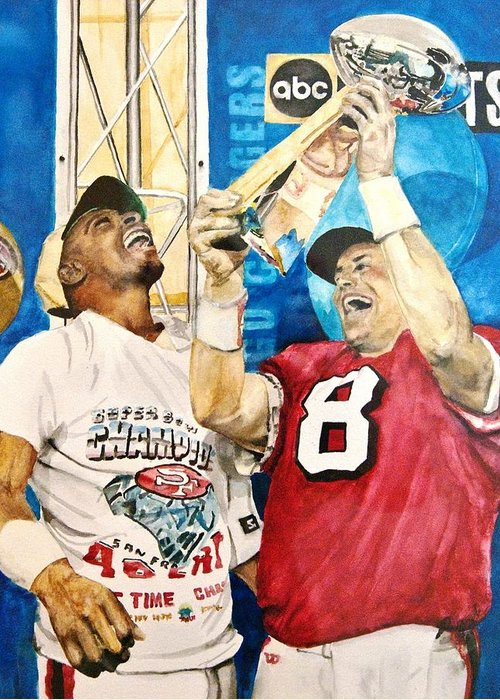 Super Bowl Greeting Card featuring the painting Super Bowl Legends by Lance Gebhardt