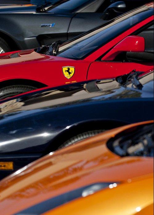 Ferrari Greeting Card featuring the photograph Supercars Ferrari Emblem by Jill Reger