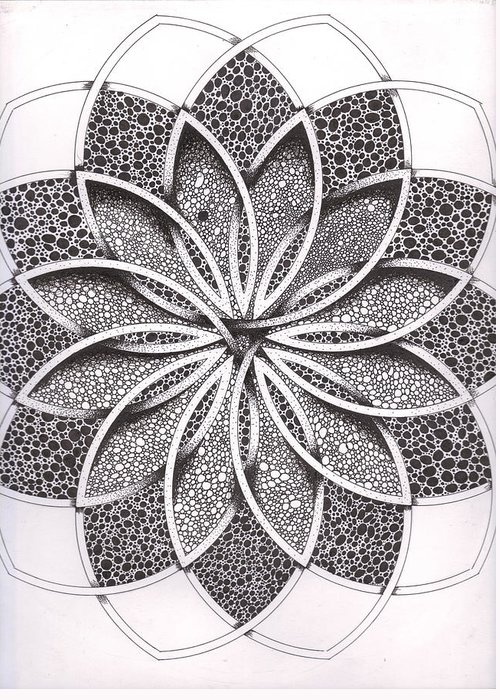 Geometric Greeting Card featuring the drawing Superfactorial Flower by Geoffroy Dextraze
