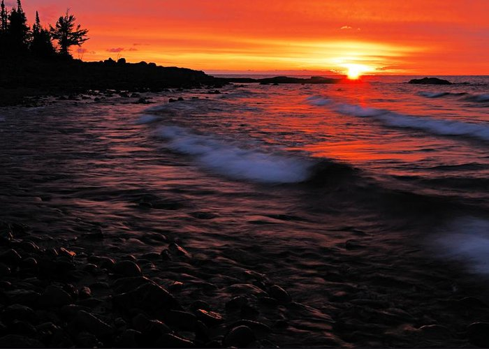 Split Rock Lighthouse State Park Greeting Card featuring the photograph Superior Sunrise 2 by Larry Ricker