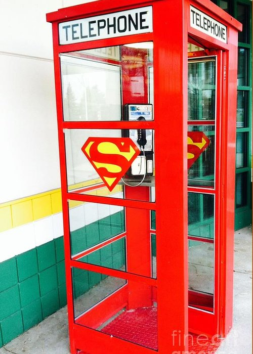 Superman Phone Booth Greeting Card