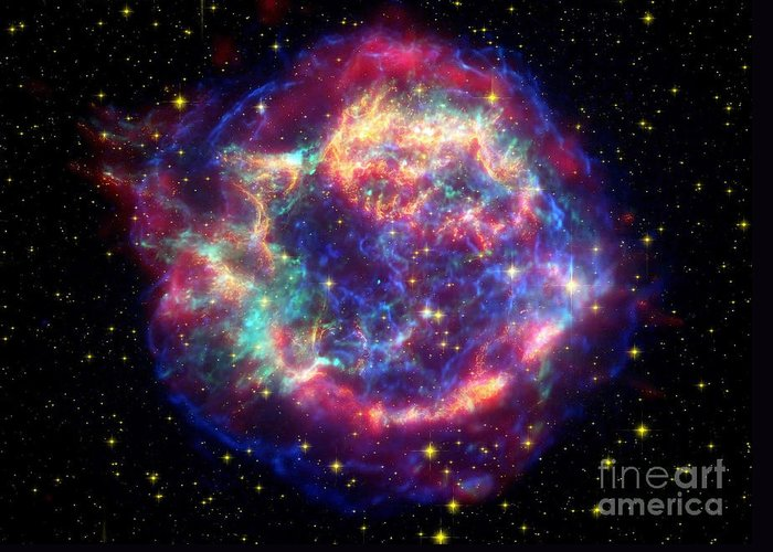 No People Greeting Card featuring the photograph Supernova Remnant Cassiopeia A by Stocktrek Images