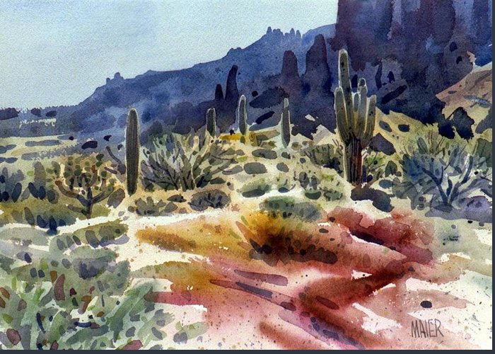 Superstition Mtn. Greeting Card featuring the painting Superstition Mountain by Donald Maier