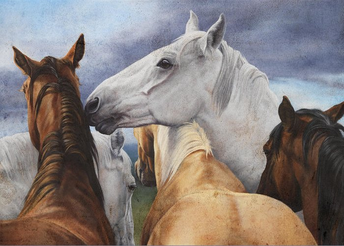 Michelle Grant Greeting Card featuring the painting Support Group by JQ Licensing