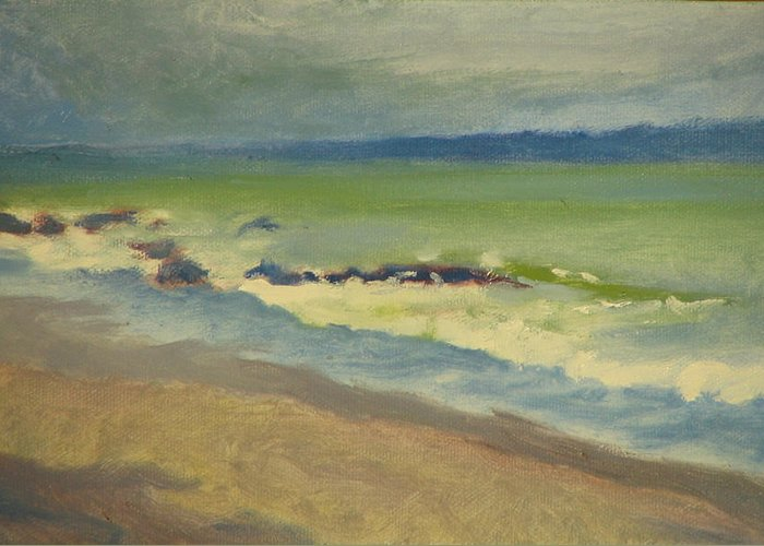 Ocean Greeting Card featuring the painting Surf by Robert Bissett