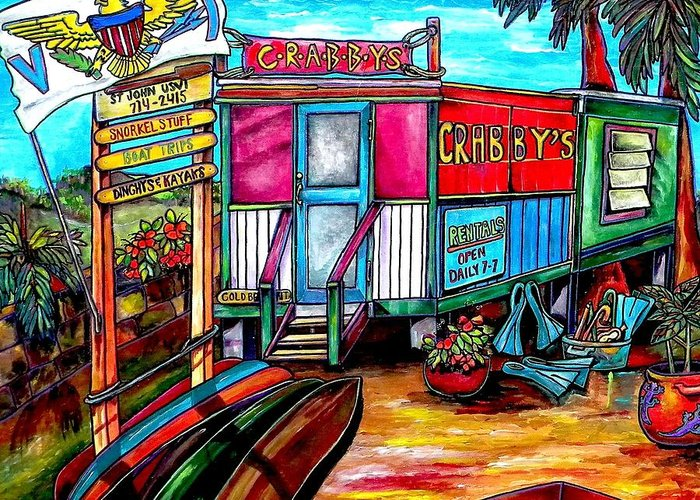 Caribbean Greeting Card featuring the painting Surf Shack by Patti Schermerhorn