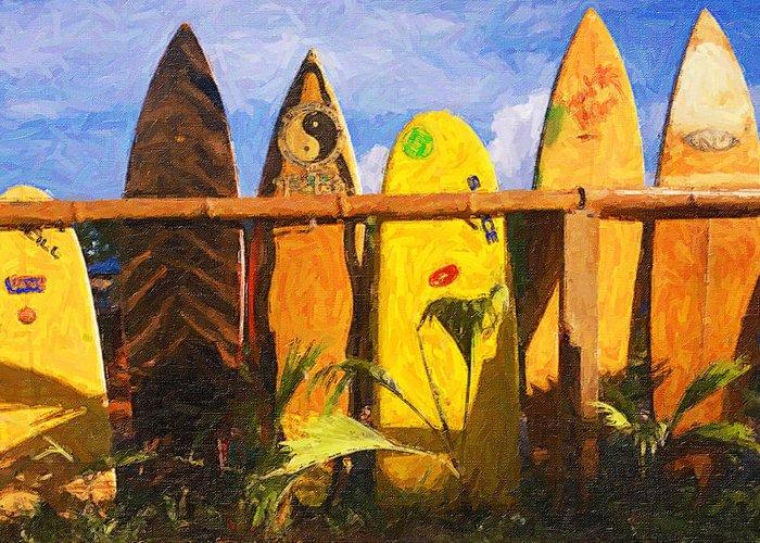 Surfboard Gardern Greeting Card featuring the photograph Surfboard Garden by Ron Regalado