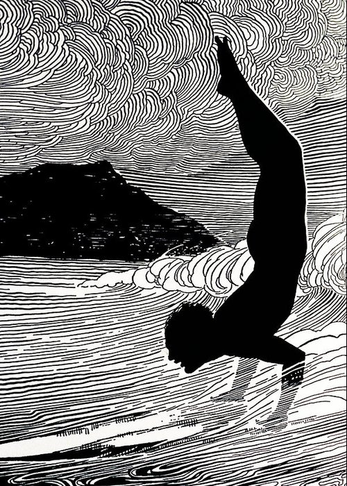 1930 Greeting Card featuring the painting Surfer And Waikiki by Hawaiian Legacy Archive - Printscapes