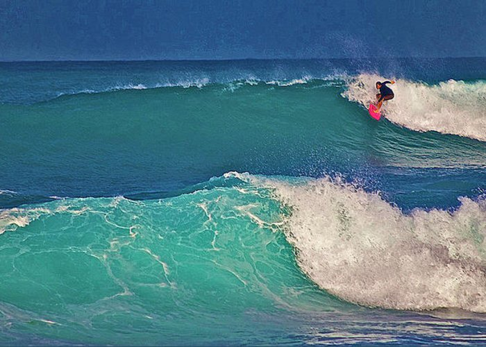 Surfer Greeting Card featuring the photograph Surfer At Aneaho'omalu Bay by Bette Phelan