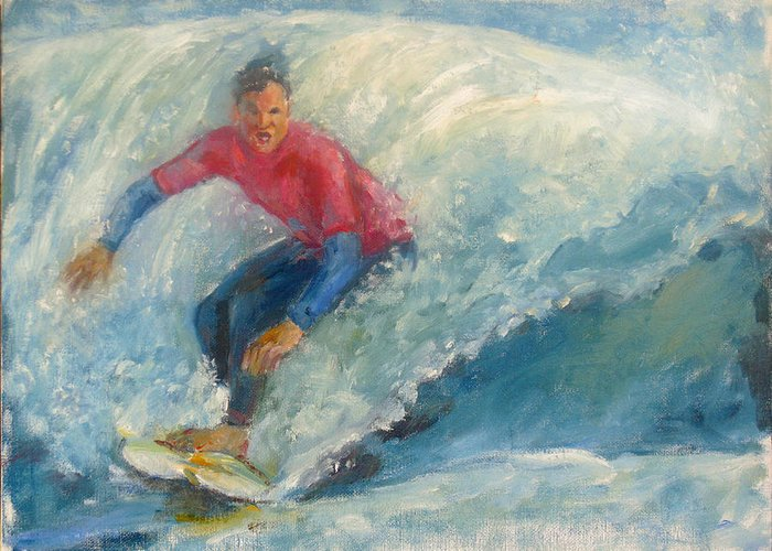 Original Oil Painting On Canvas. Surfer Greeting Card featuring the painting Surfer by Bin Feng