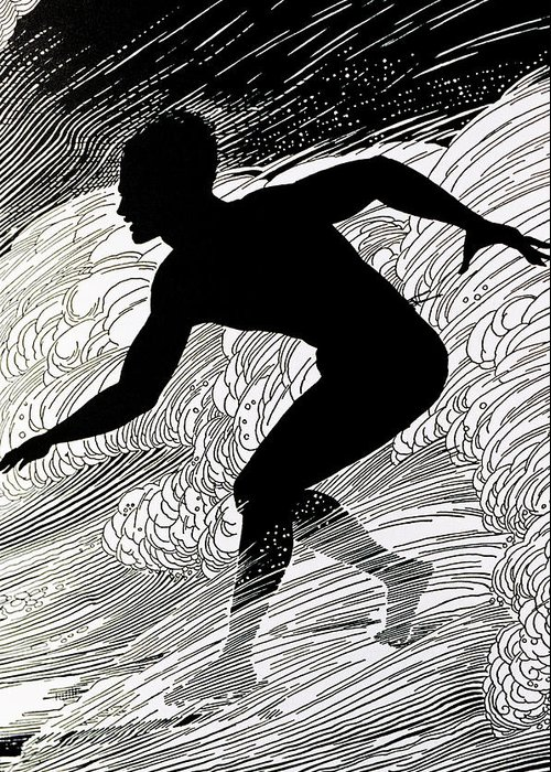1930 Greeting Card featuring the painting Surfer by Hawaiian Legacy Archive - Printscapes