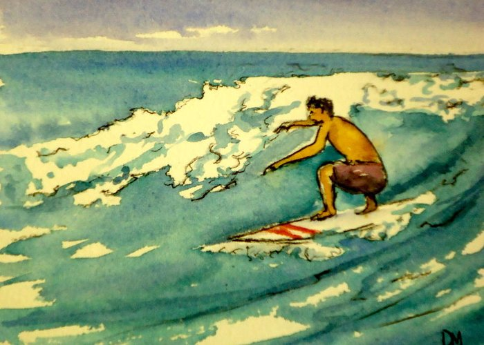 Surfing Greeting Card featuring the painting Surfer In The Sky by Pete Maier