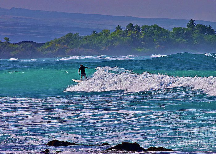Surfing Photos Greeting Card featuring the photograph Surfer Rides The Outside Break by Bette Phelan