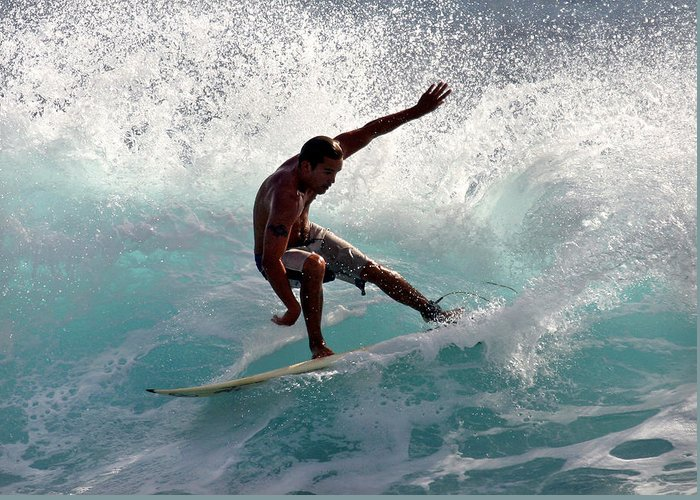 Surfer Greeting Card featuring the photograph Surfer Slashing The Blue Waves At Dumps Maui Hawaii by Pierre Leclerc Photography