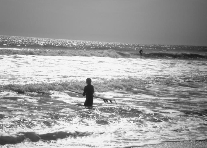 Surf Greeting Card featuring the photograph Surfers by Utopia Concepts