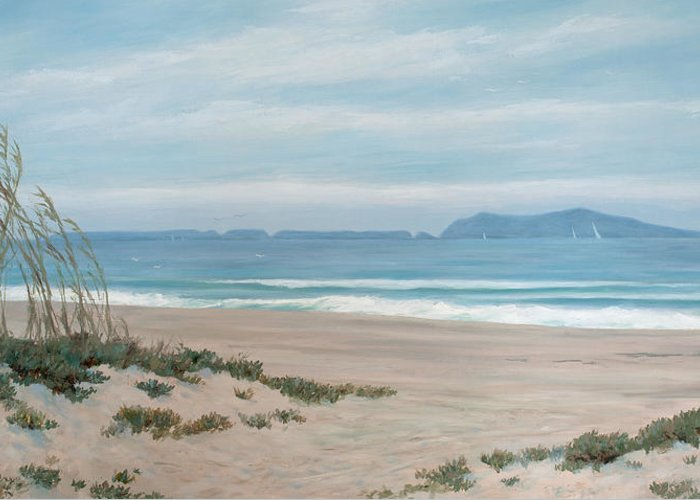 Surfers Knoll Greeting Card featuring the painting Surfers Knoll Anacapa View #5 by Tina Obrien