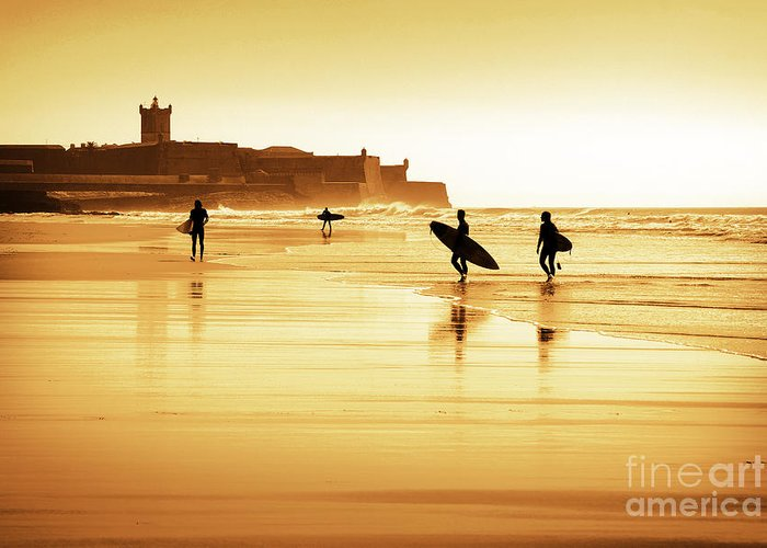 Action Greeting Card featuring the photograph Surfers Silhouettes by Carlos Caetano