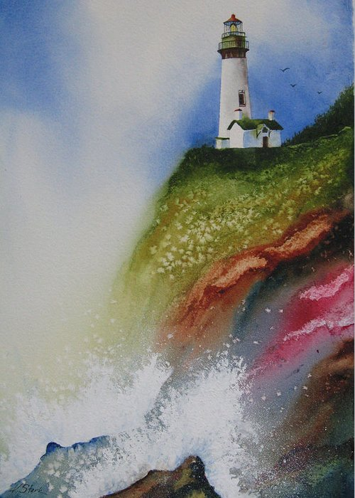 Lighthouse Greeting Card featuring the painting Surfside by Karen Stark