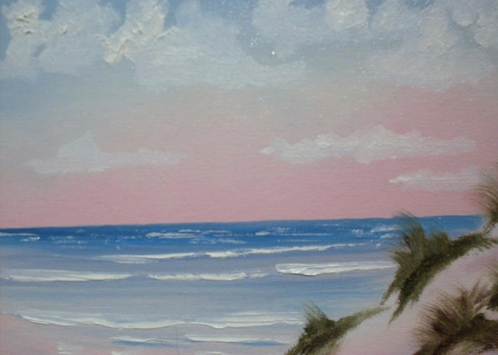 Landscape Oil Beach Greeting Card featuring the painting Surfside by Warren Thompson