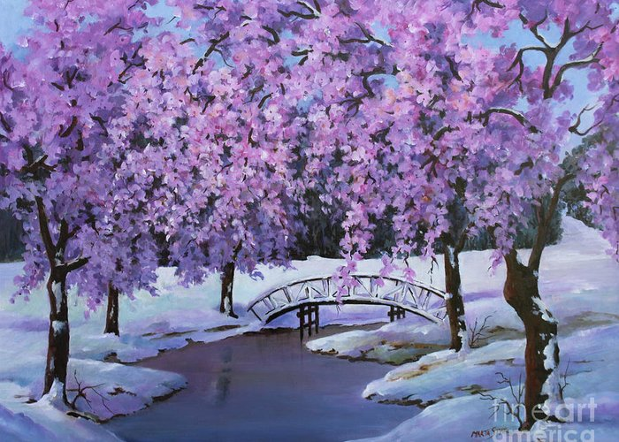 Landscape Greeting Card featuring the painting Surprise At Spring Time by Marta Styk