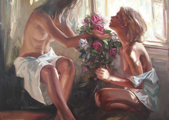 Ignatenko Greeting Card featuring the painting Surprise by Sergey Ignatenko
