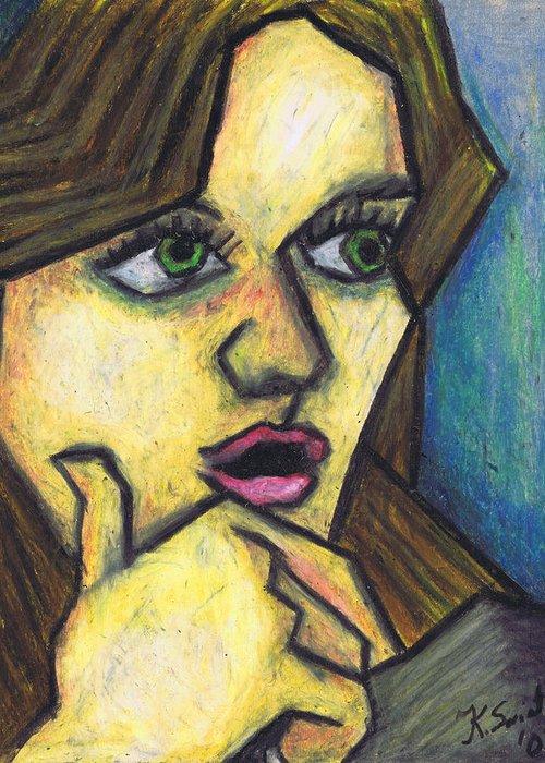 Surprised Girl Greeting Card featuring the painting Surprised Girl by Kamil Swiatek