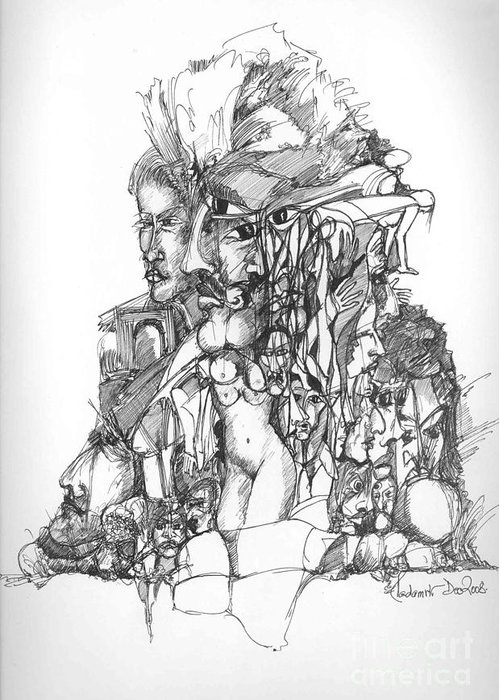 Faces Greeting Card featuring the drawing Surreal 12 by Padamvir Singh