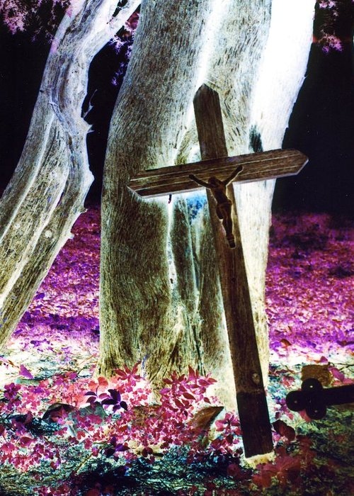 Cross Greeting Card featuring the photograph Surreal Crucifixion by Karin Kohlmeier