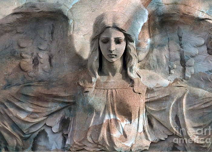 Angel Art Greeting Card featuring the photograph Surreal Fantasy Dreamy Angel Art Wings by Kathy Fornal
