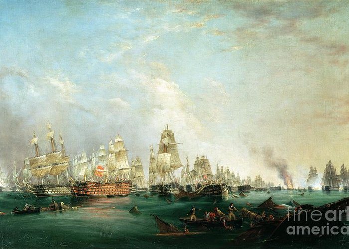Surrender Greeting Card featuring the painting Surrender Of The Santissima Trinidad To Neptune The Battle Of Trafalgar by Lieutenant Robert Strickland Thomas