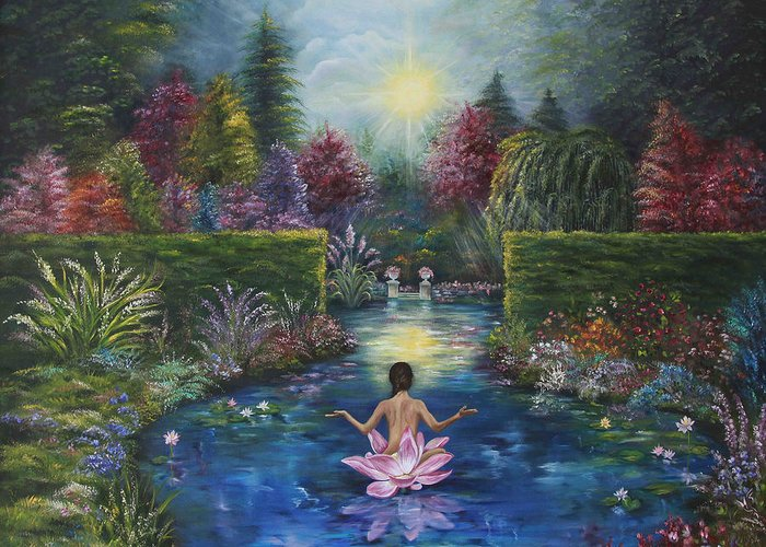 Lotus Greeting Card featuring the painting Surrender by Sundara Fawn