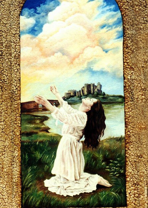 Christian Greeting Card featuring the painting Surrender by Teresa Carter