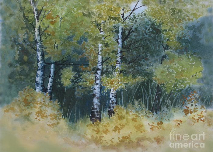 Birch Trees Greeting Card featuring the painting Surrounded By Greenery by Diane Ellingham