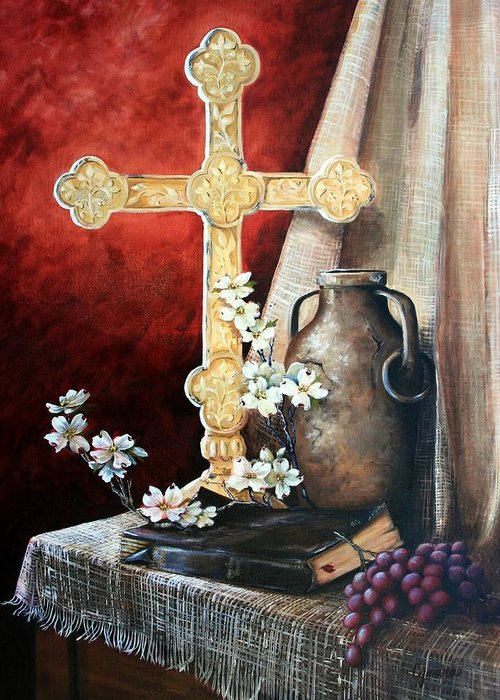 Cross Greeting Card featuring the painting Survey The Wonderous Cross by Cynara Shelton