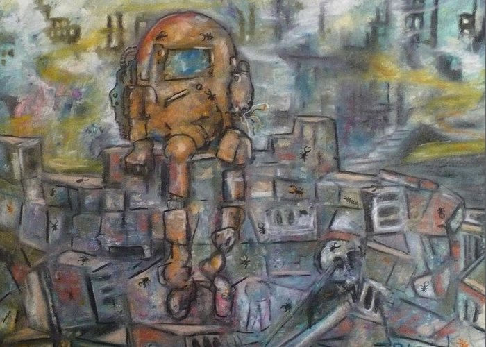 Crayon Greeting Card featuring the painting Survivor  S by Todd Peterson