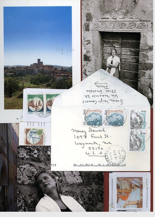 Blonde Woman In Italy Greeting Card featuring the mixed media Susan In Italia by Nancy Ferrier