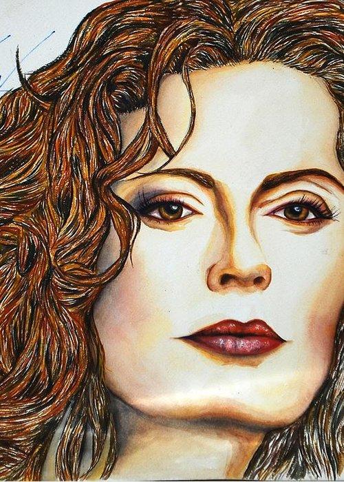 Actress Greeting Card featuring the mixed media Susan Sarandon by Joseph Lawrence Vasile