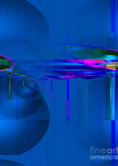 Abstract Greeting Card featuring the digital art Suspended by John Krakora