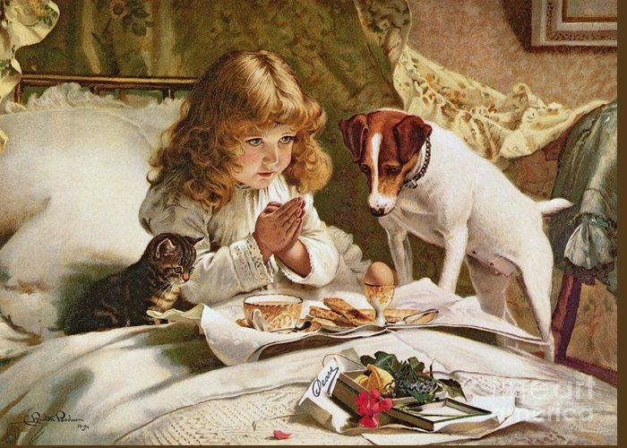Suspense Greeting Card featuring the painting Suspense by Charles Burton Barber