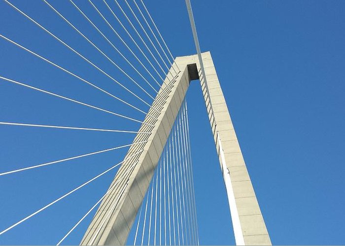 Bridge Greeting Card featuring the photograph Suspension by Jeff Harrell Jr
