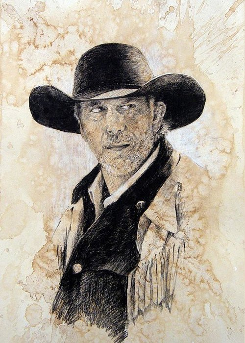 Cowboy Art Greeting Card featuring the drawing Suspicious by Debra Jones