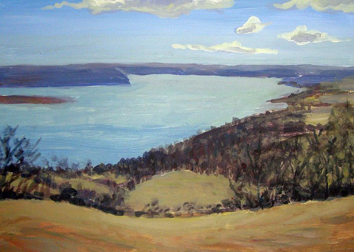 Landscape Greeting Card featuring the painting Susquehanna River View by Evelynn Eighmey