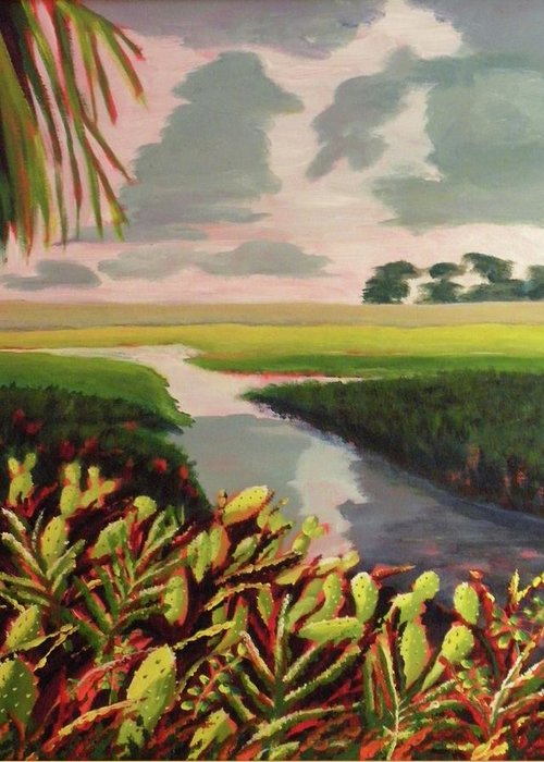 River Greeting Card featuring the painting Suwanee River Delta by CB Woodling