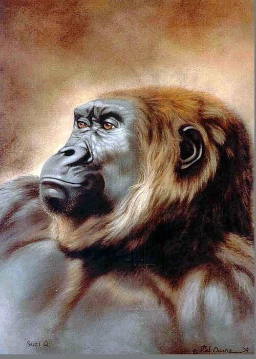 Gorilla Greeting Card featuring the painting Suzie Q by Deb Owens-Lowe