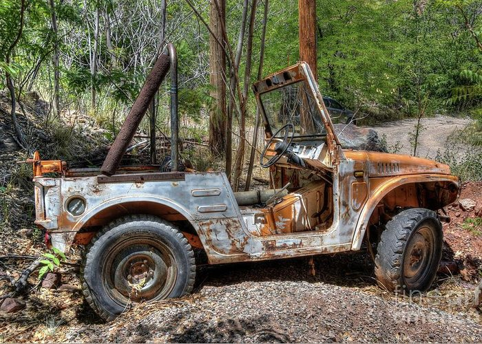 Vehicle Rusty Old Mountains Nature Trees Woods History Jerome Northern Arizona Greeting Card featuring the photograph Suzuki's Best by Thomas Todd