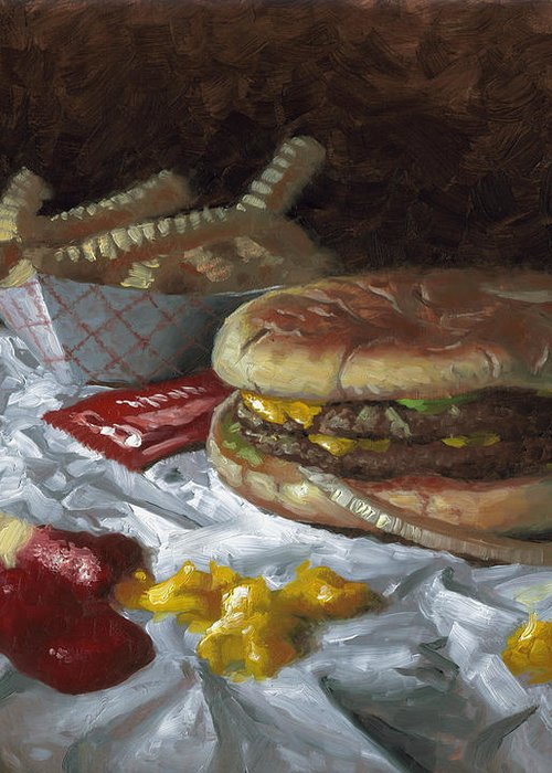 Hamburger Greeting Card featuring the painting Suzy-q Double Cheeseburger by Timothy Jones